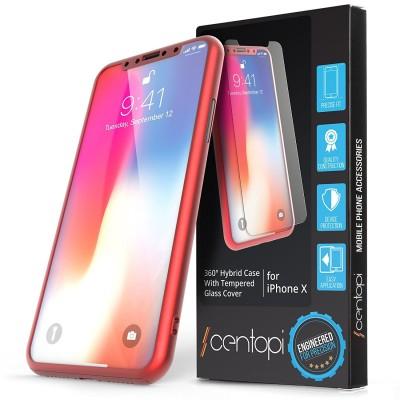 Centopi Θήκη Hybrid 360° iPhone X / 10 & Tempered Glass - Red (200-102-561)
