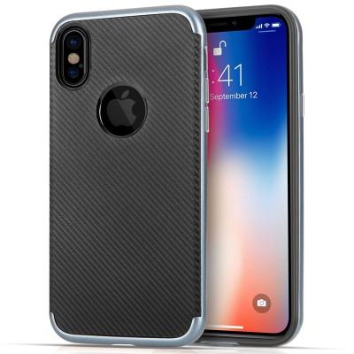 Θήκη Carbon Fibre Gel Cover για iPhone X by Centopi Μπλε και δώρο screen protector (200-102-641)