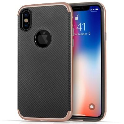 Θήκη Carbon Fibre Gel Cover για iPhone X by Centopi Rose Gold και δώρο screen protector (200-102-642)