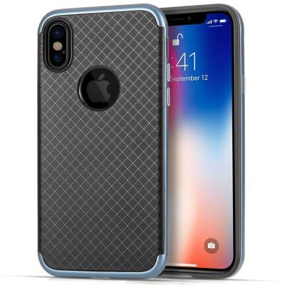Θήκη Crosshatch  Gel Cover για iPhone X by Centopi Μπλε και δώρο screen protector (200-102-639)