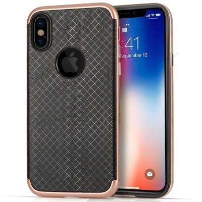 Θήκη Crosshatch  Gel Cover για iPhone X by Centopi Rose Gold και δώρο screen protector (200-102-640)