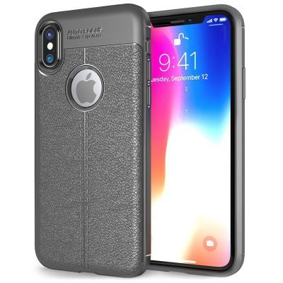 Θήκη Leather Look για iPhone X by Centopi γκρι και δώρο screen protector (200-102-637)