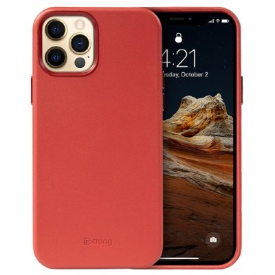 Crong Essential Eco Leather - Σκληρή Θήκη Apple iPhone 12 Pro Max - Red (CRG-ESS-IP1267-RED)