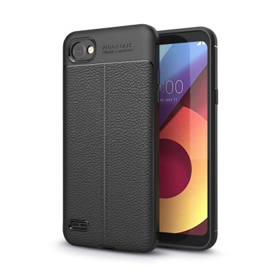 Θήκη TPU Leather LG Q6 - Black - OEM (11483)