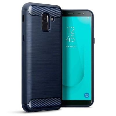 Terrapin Θήκη Σιλικόνης Carbon Fibre Samsung Galaxy J6 2018 - Blue (118-002-707)