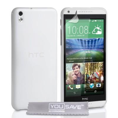 Θήκη σιλικόνης για HTC Desire 816 ημιδιάφανη by YouSave και screen protector