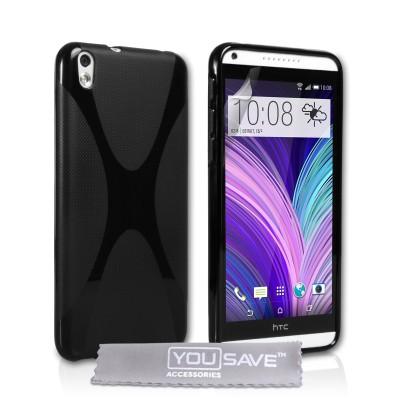 Θήκη σιλικόνης για HTC Desire 816 μαύρη by YouSave και screen protector