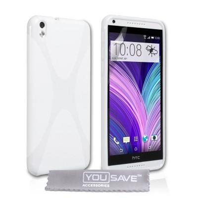 Θήκη σιλικόνης για HTC Desire 816 λευκή by YouSave και screen protector