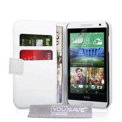 Θήκη- Πορτοφόλι για HTC Desire 816 λευκή by YouSave και screen protector