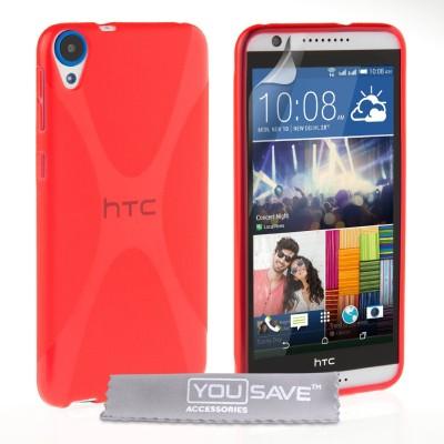 Θήκη σιλικόνης για HTC Desire 820 κόκκινη by YouSave και screen protector
