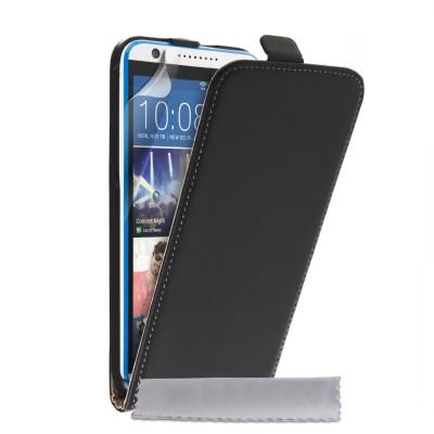 Δερμάτινη θήκη για HTC Desire 820 μαύρη by YouSave και screen protector
