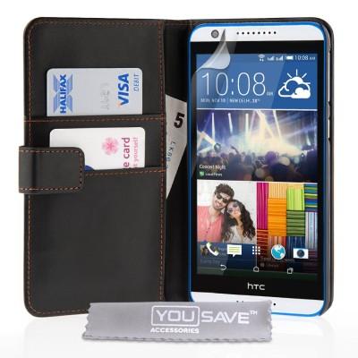Θήκη- Πορτοφόλι για HTC Desire 820 μαύρη by YouSave και screen protector