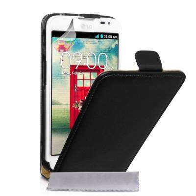 Δερμάτινη θήκη για LG L70 by YouSave  μαύρη και δώρο screen protector