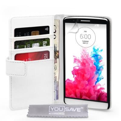 Θήκη- Πορτοφόλι για LG G3  by YouSave λευκή και δώρο screen protector