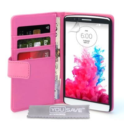 Θήκη- Πορτοφόλι για LG G3  by YouSave ροζ και δώρο screen protector