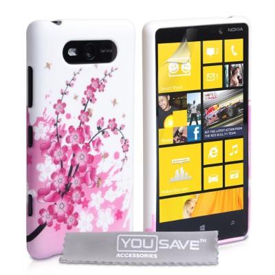 Θήκη σιλικόνης για Nokia Lumia 820 floral by YouSave Accessories και  screen protector