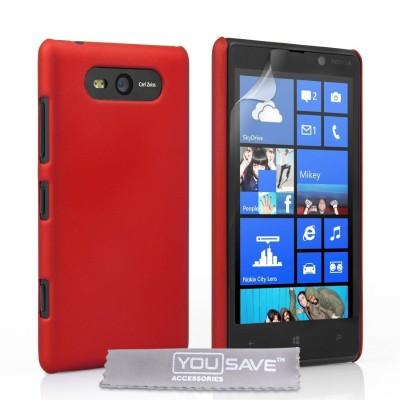 Θήκη για Nokia Lumia 820 by YouSave Accessories κόκκινη και δώρο screen protector