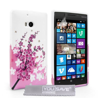 Θήκη σιλικόνης για Nokia Lumia 930 floral  by YouSave Accessories και  screen protector