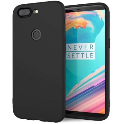 Θήκη σιλικόνης μαύρη ματ για OnePlus 5T by Caseflex και δώρο screen protector (200-102-625)