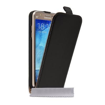 Δερμάτινη θήκη για Samsung Galaxy J5 by YouSave μαύρη και δώρο screen protector