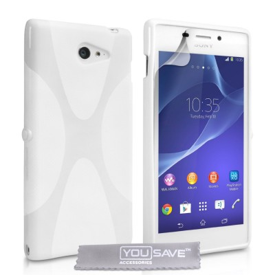 Θήκη σιλικόνης για Sony Xperia M2 λευκή by YouSave και screen protector