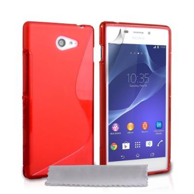 Θήκη σιλικόνης για Sony Xperia M2 κόκκινη  by YouSave και screen protector