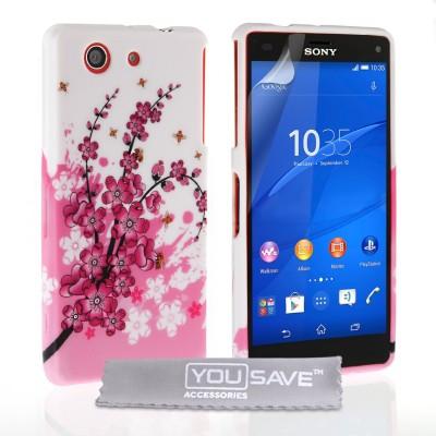 Θήκη σιλικόνης για Sony Xperia Z3 Compact  floral  by YouSave  και  screen protector