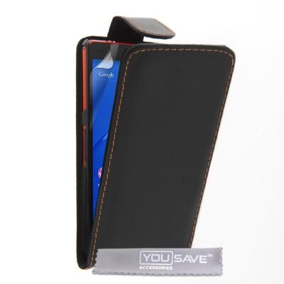 Θήκη για Sony Xperia Z3 Compact  μαύρη by YouSave και δώρο screen protector