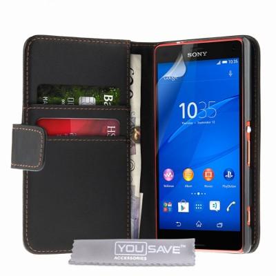Θήκη- Πορτοφόλι για Sony Xperia Z3 Compact  by YouSave Accessories μαύρη και δώρο screen protector